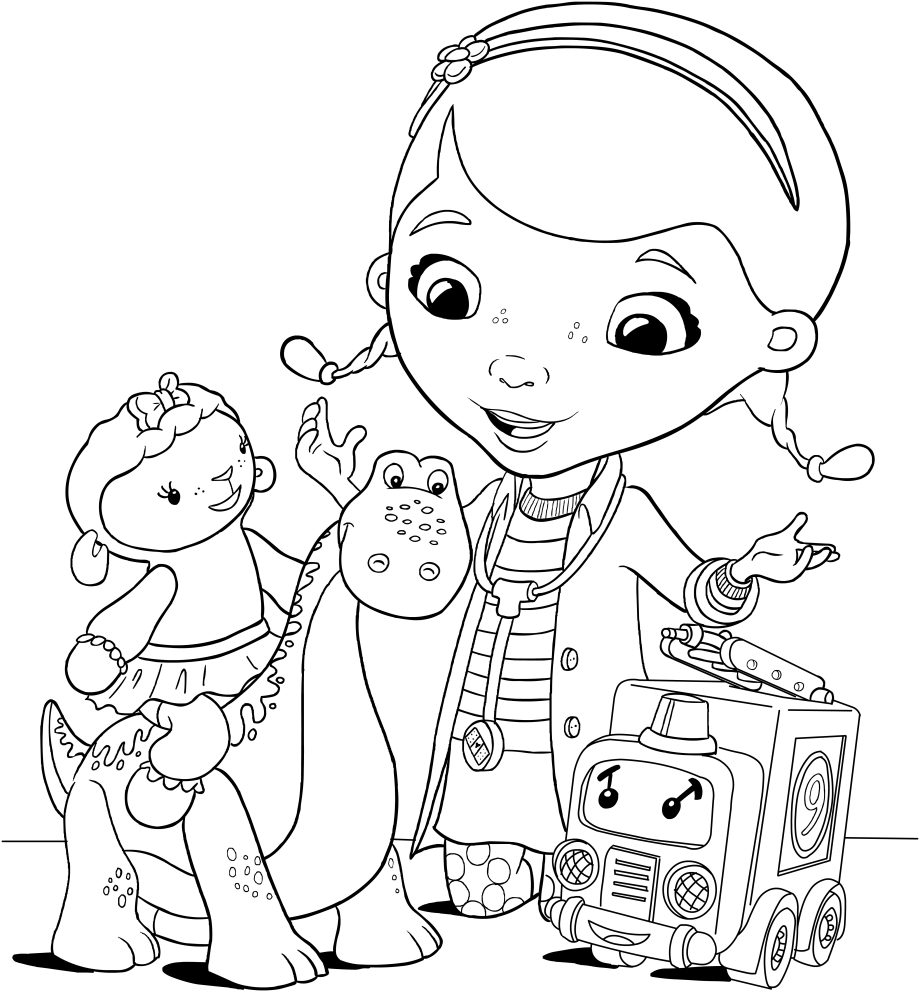 doc mcstuffins lamby bronty and lenny coloring pages