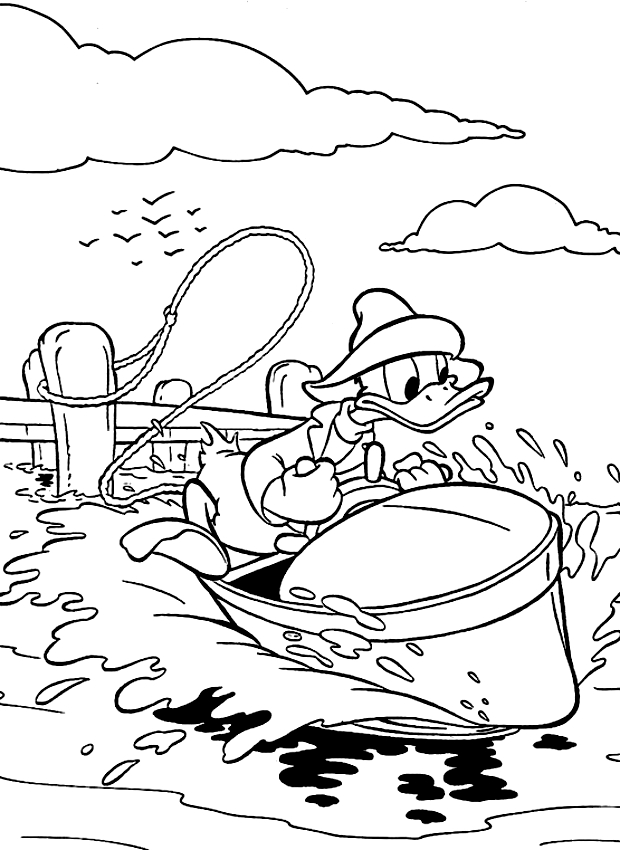 drawing donald duck in a motorboat coloring pages printable for kids