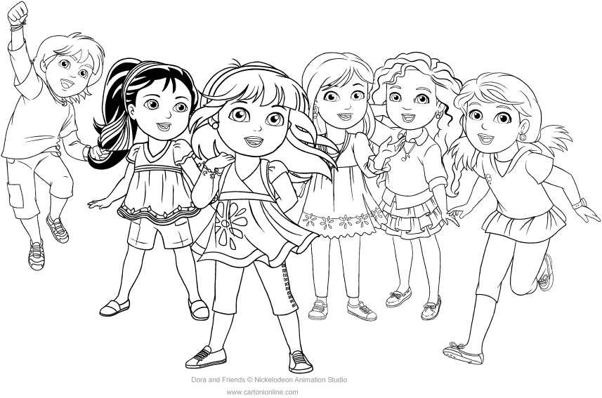 Dora And Friends Coloring Page To Print