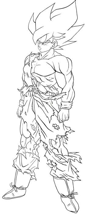 Goku Super Saiyan Of Second Level Coloring Page