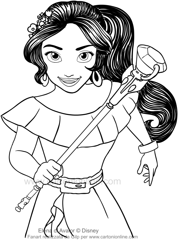 Kleurplaat Printer Drawing Elena Of Avalor Who Running With The Scepter