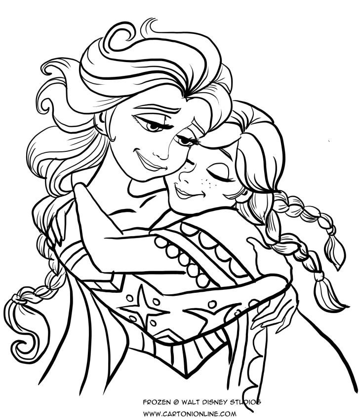 Anna and elsa embrace coloring page for Disegnare elsa frozen