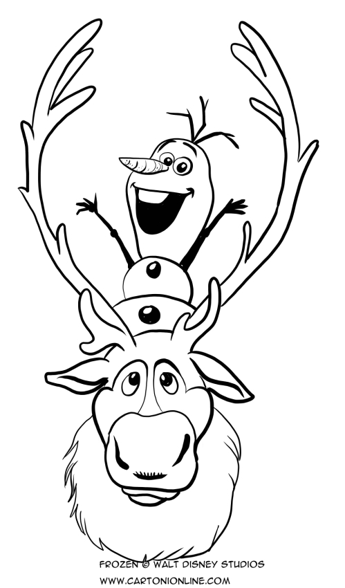 olaf the snowman and sven the reindeer coloring page - Sven Reindeer Coloring Pages