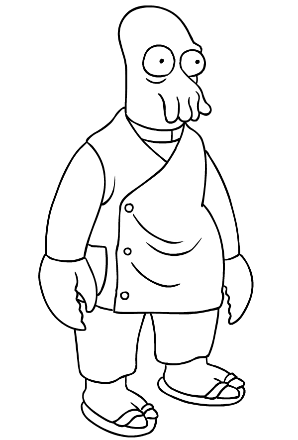 Drawing Of John Zoidberg Di Futurama Coloring Page