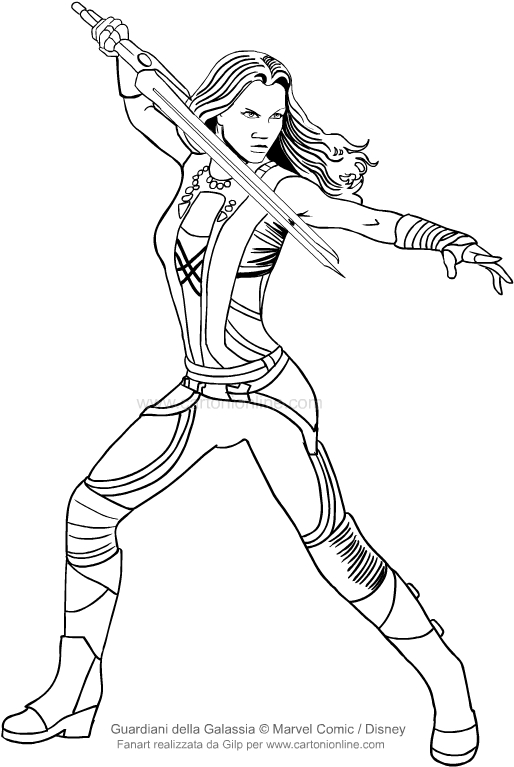 Drawing Gamora Guardians Of The Galaxy Coloring Page