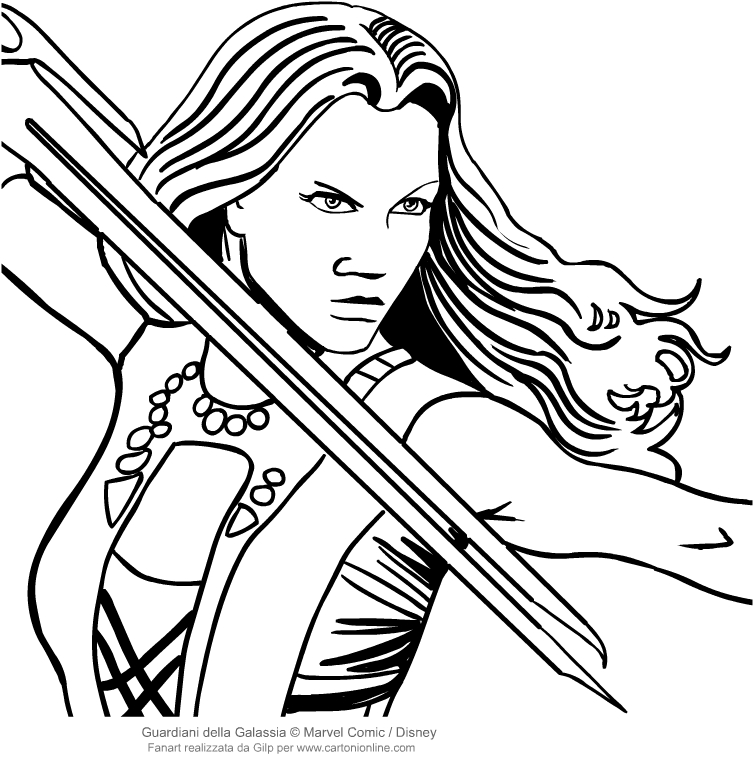 Drawing Gamora The Face Guardians Of The Galaxy Coloring Page
