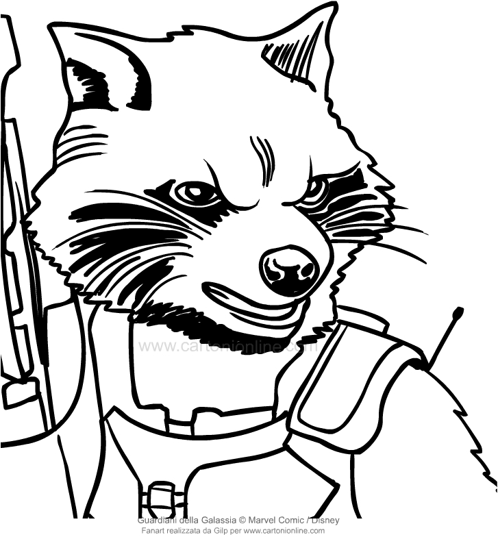 Drawing Rocket Raccoon the face