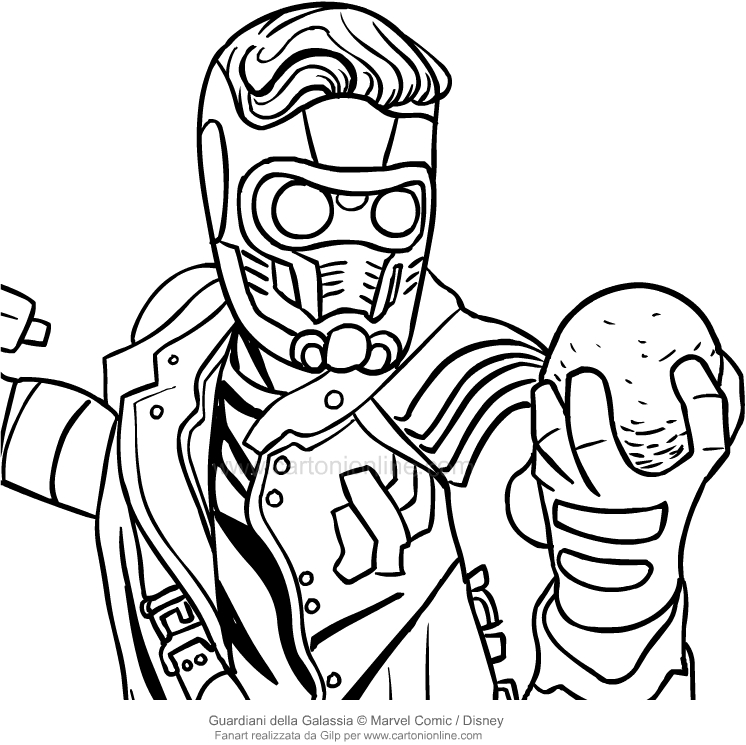 Drawing Star Lord the face Guardians of the Galaxy coloring page