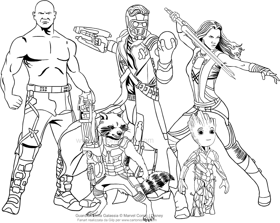 Guardians Of The Galaxy  Coloring Pages Star Lord