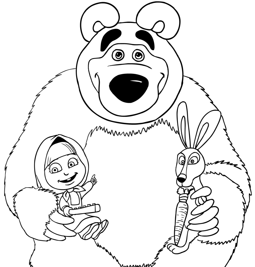 Masha Bear And Rabbit Coloring Page Printable
