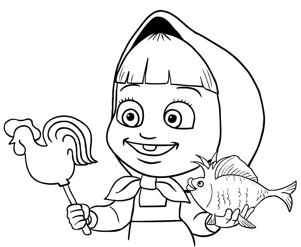 Masha With Gold Fish Coloring Page Printable
