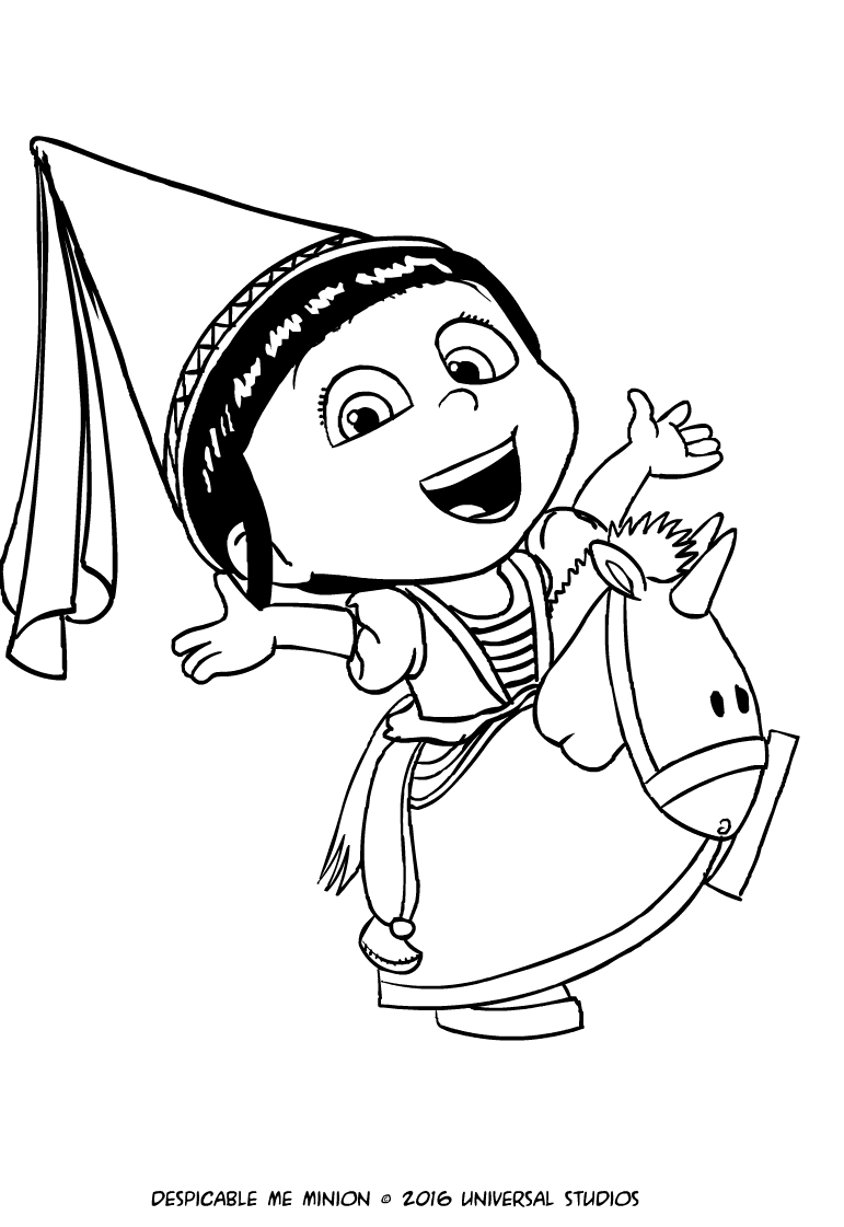 Agnes with unicorn coloring page for Immagini cattivissimo me da colorare