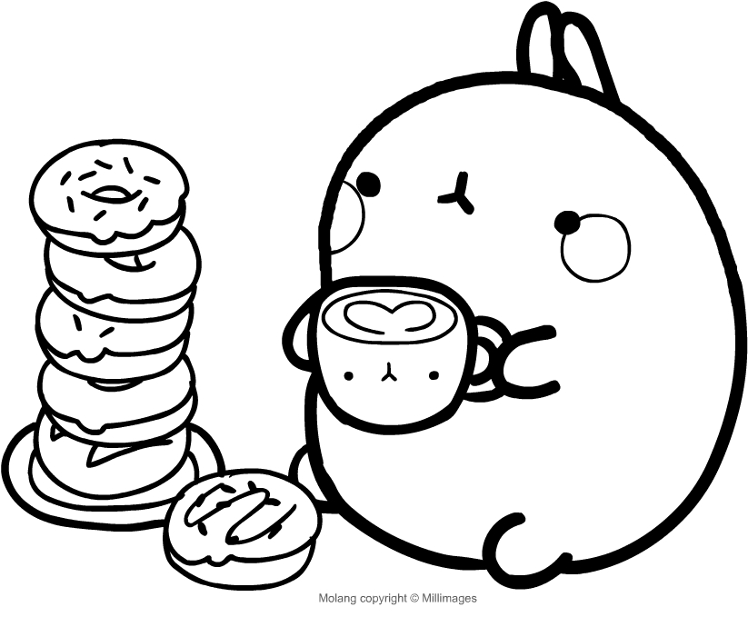 Molang molang having breakfast with donuts and milk ...