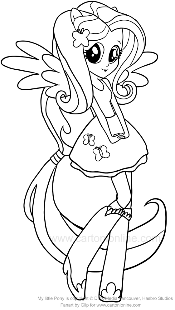 Drawing Fluttershy Equestria Girls Of The My Little Pony Coloring Page