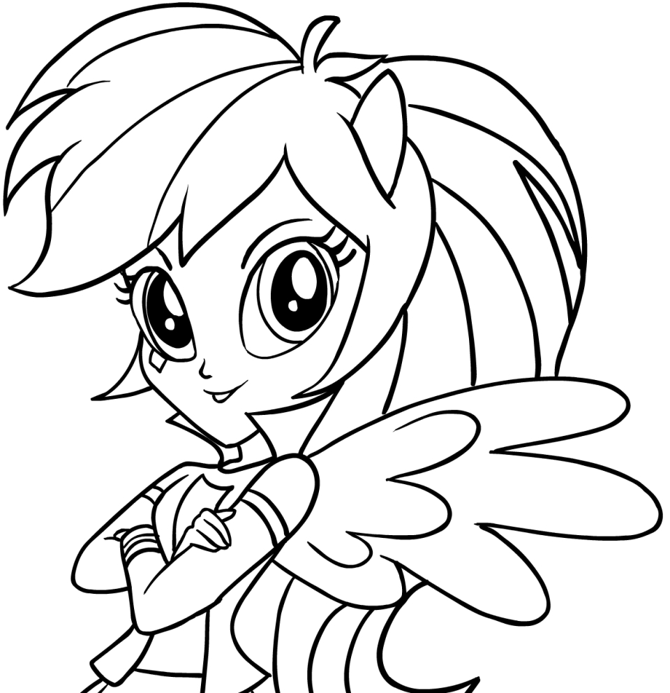 Drawing Rainbow Dash (Equestria Girls) (the face) of My Little Pony ...
