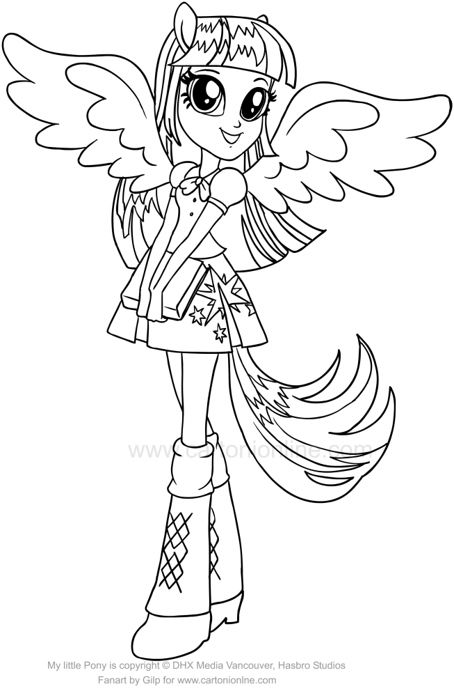 Equestria girls twilight sparkle coloring pages ~ Drawing Twilight Sparkle (Equestria Girls) of the My ...