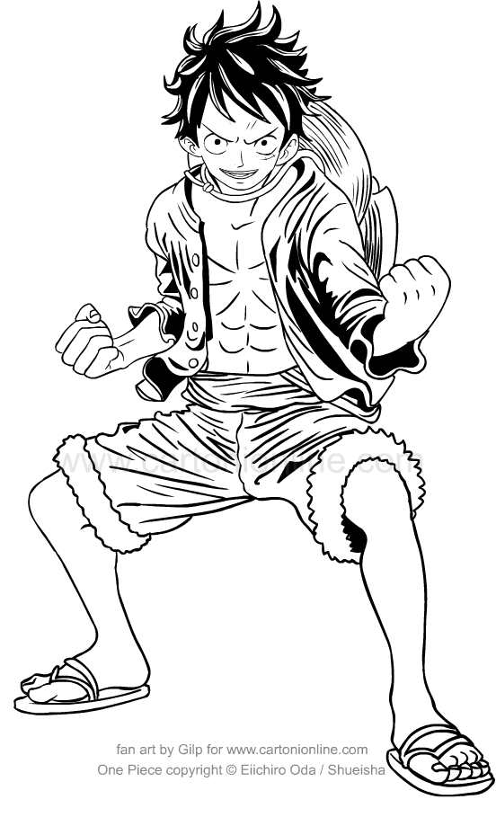 Drawing Monkey D Rufy Of One Piece Coloring Pages Printable For Kids