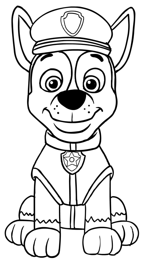 Paw Patrol Car Coloring Pages : Chase sitting in front coloring page