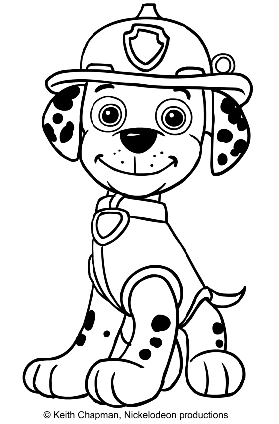 Marshall sitting in front coloring page