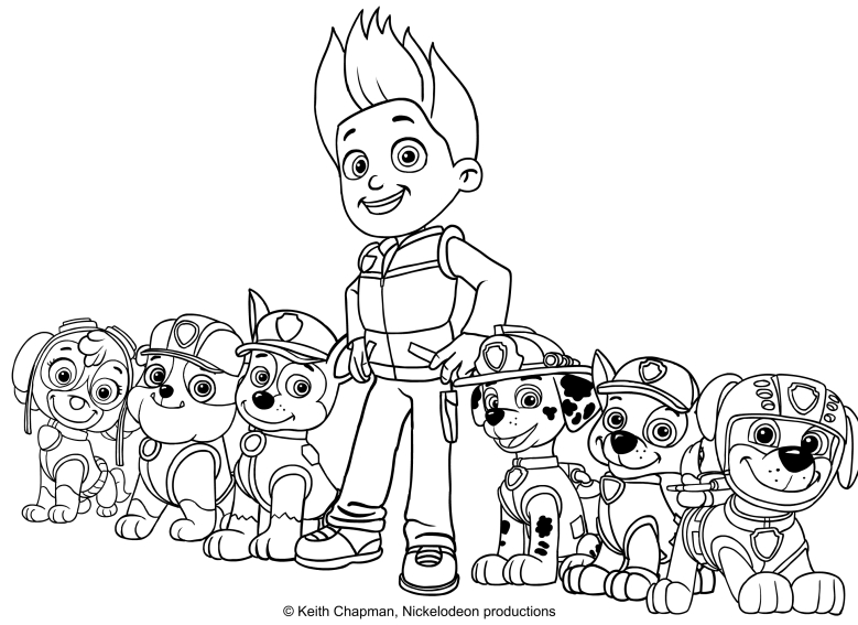 The Paw Patrol Team Coloring Page