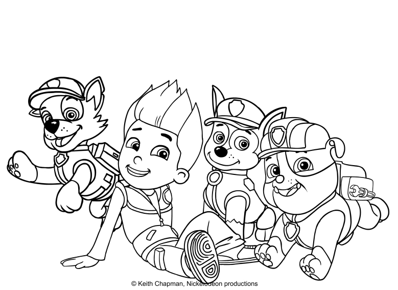 Rocky, Ryder, Chase And Rubble. Coloring Page