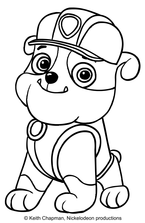 Rubble paw patrol coloring page sitting in front for Immagini paw patrol da colorare