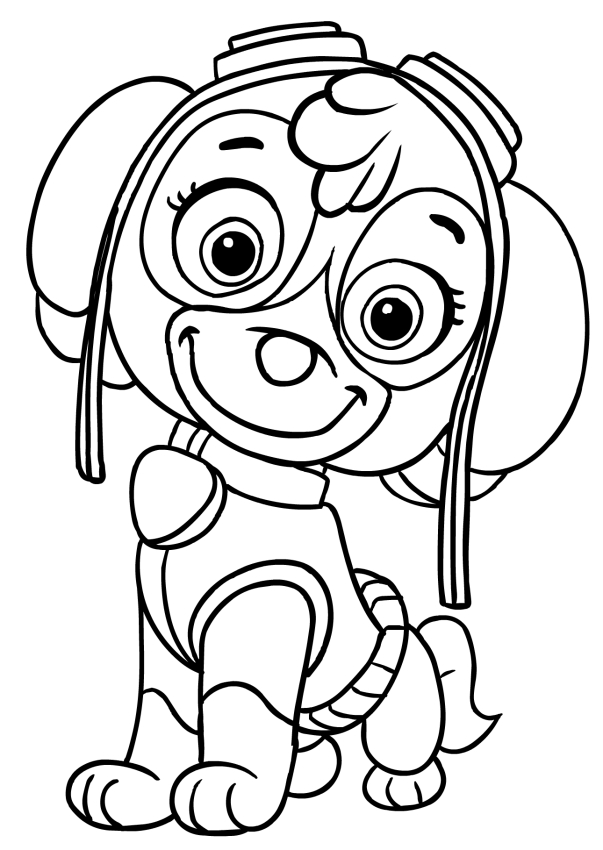 Skye Paw Patrol Coloring Pages : Skye paw patrol coloring page sitting and happy