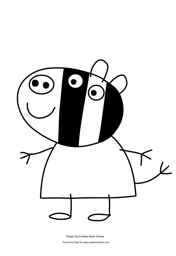Design Coloring Page To Print Of Zoe Zebra