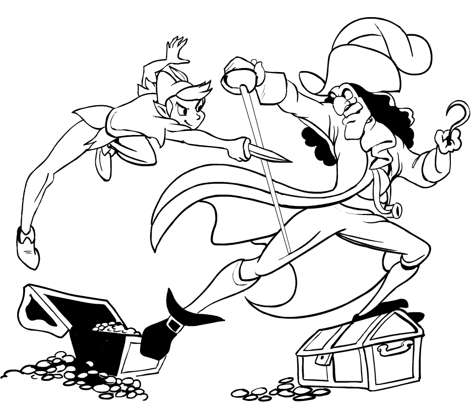Drawing peter pan versus captain hook coloring page for Immagini peter pan da colorare