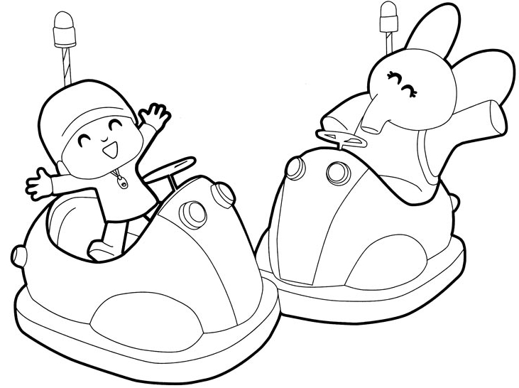 Drawing Pocoyo And Elly Playing With The Bumper Cars Coloring Pages Printable For Kids