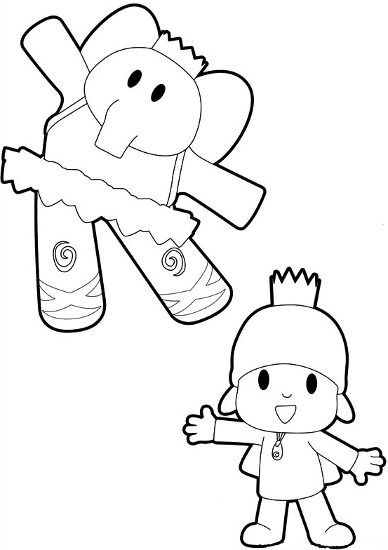 Drawing Pocoyó and Elly dancing coloring page