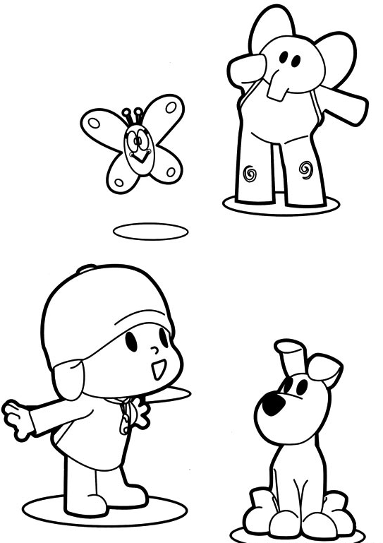 Drawing Pocoyo Elly And The Dog Loula Coloring Page