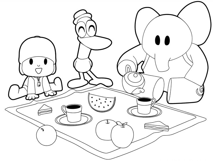 Drawing Pocoyo Pato And Elly Have Breakfast Coloring Page