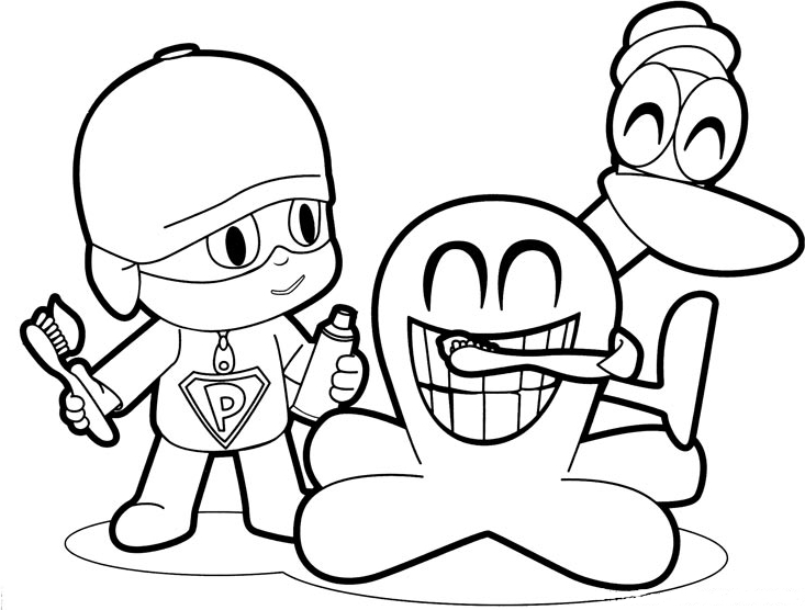 Drawing Super Pocoyo, Freddy the octopus and Pato who brush their ...