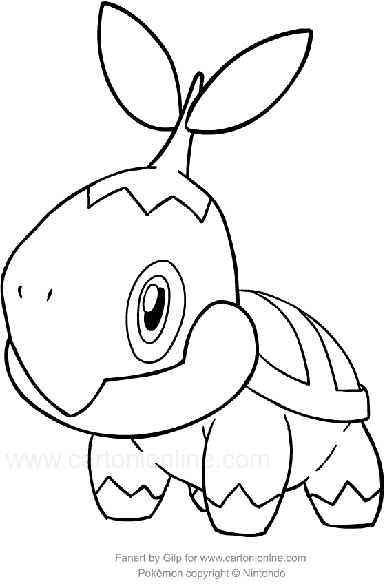 Drawing Turtwig of the Pokemon coloring page