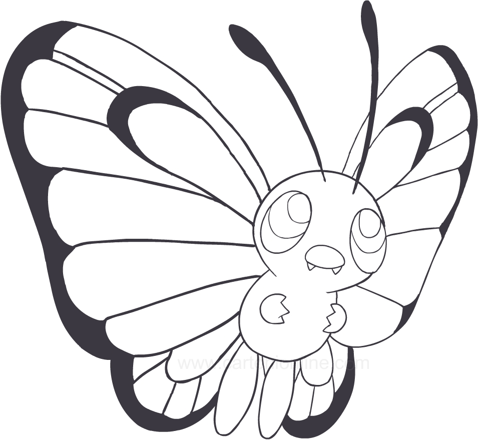 drawing butterfree of the pokemon coloring page