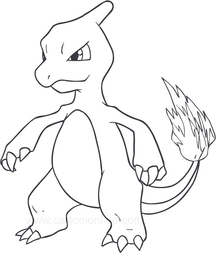drawing charmeleon of the pokemon coloring pages printable for kids