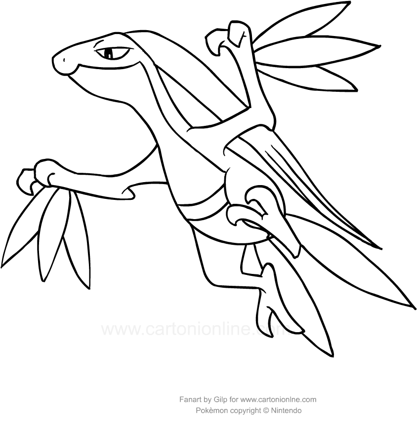 drawing grovyle of the pokemon coloring pages printable for kids