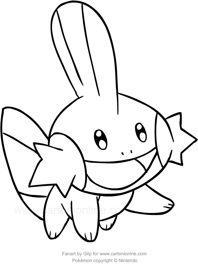 Drawing Mudkip Of The Pokemon Coloring Pages Printable For Kids