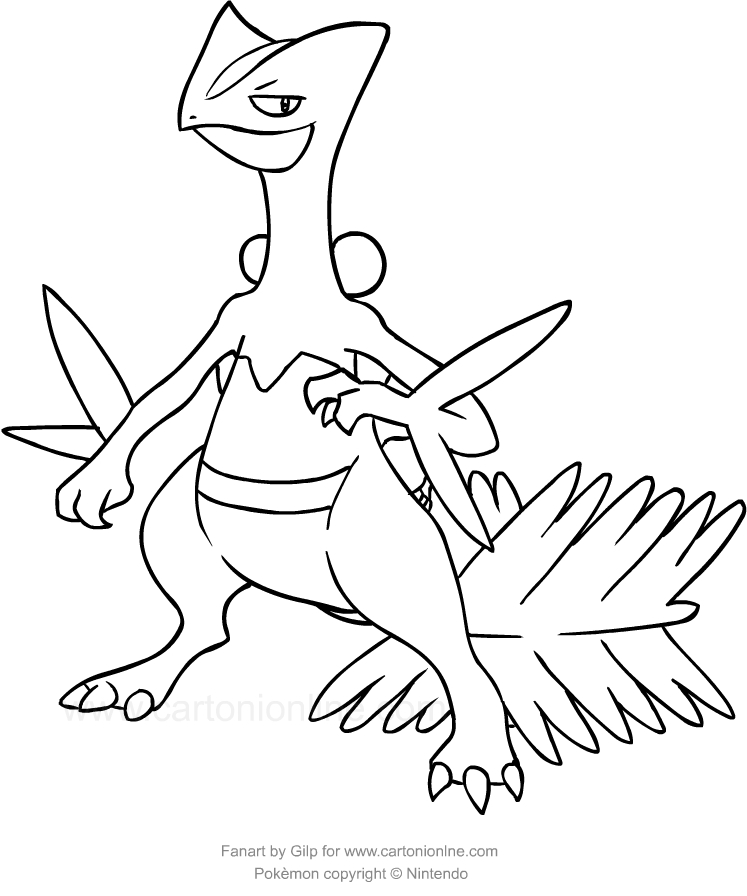 drawing sceptile of the pokemon coloring pages printable for kids