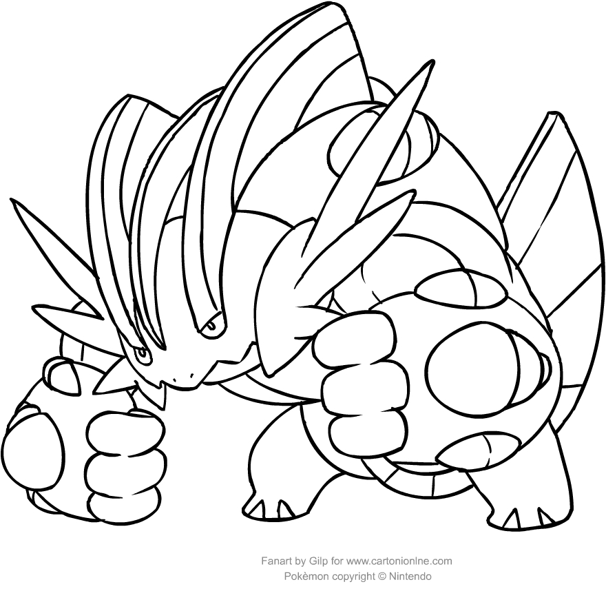 Drawing Swampert Of The Pokemon Coloring Pages Printable For Kids