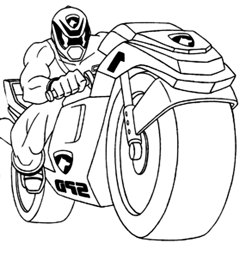 Drawing Of Crime Kicker Sulla Moto Dei Power Rangers Coloring Page