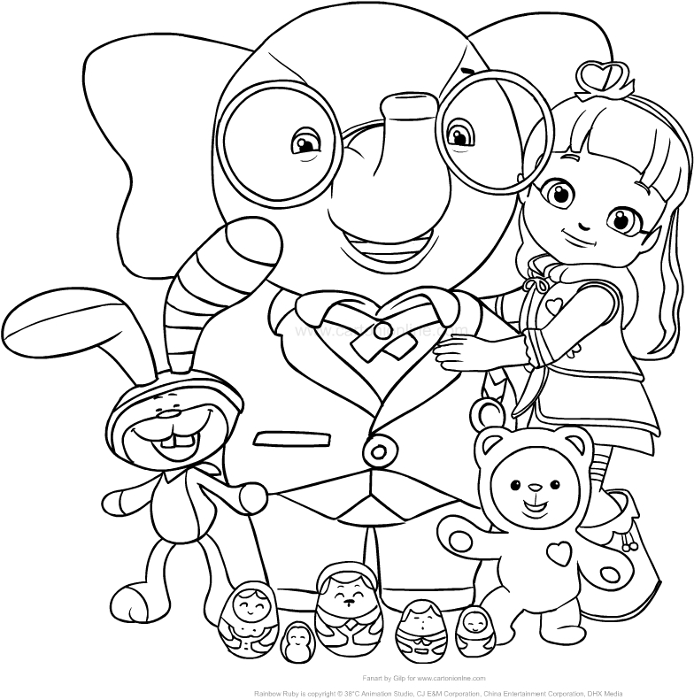 Drawing Rainbow Ruby with her friends