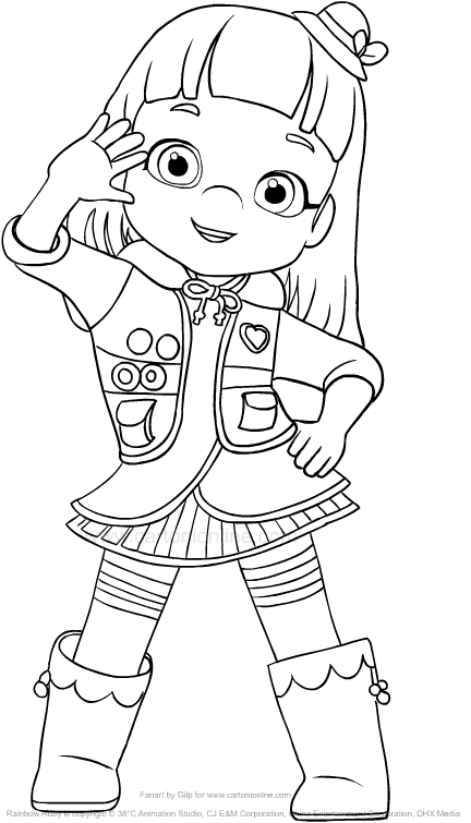 Drawing Rainbow Ruby greets coloring