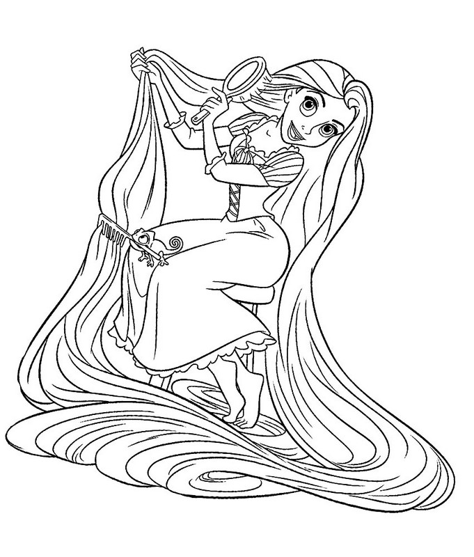 Colorare Rapunzel.Rapunzel Brushing Her Hair Coloring Pages