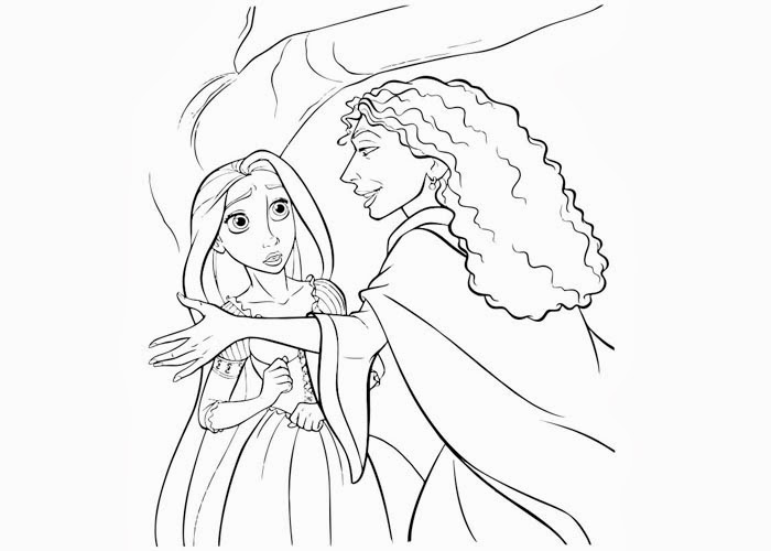 rapunzel and mother gothel coloring page
