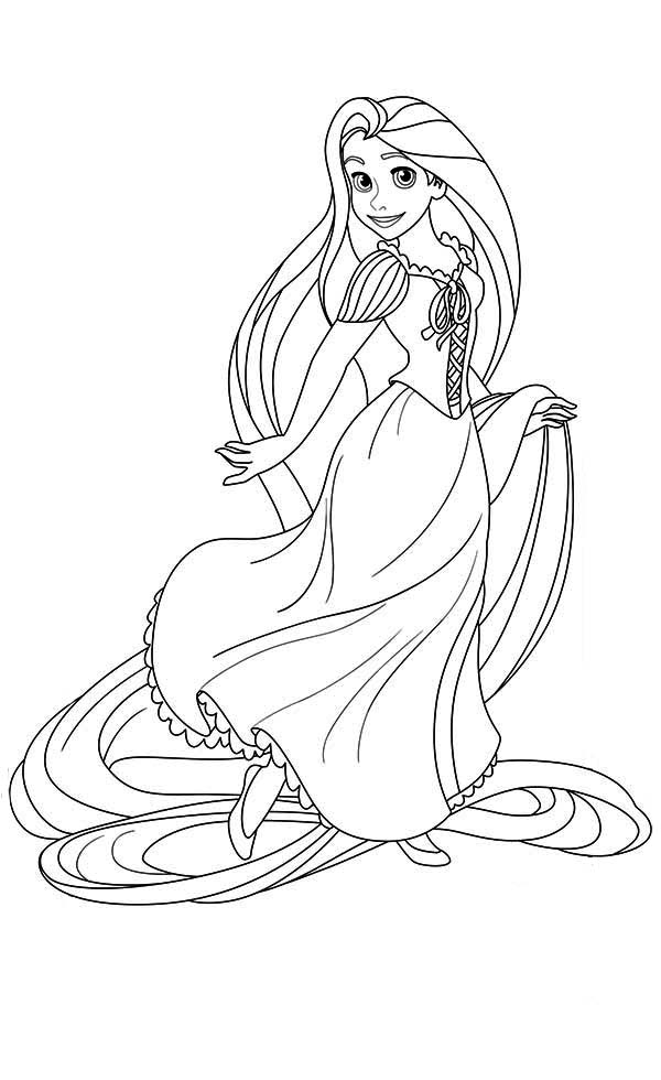 Rapunzel To Full Figure Coloring Pages