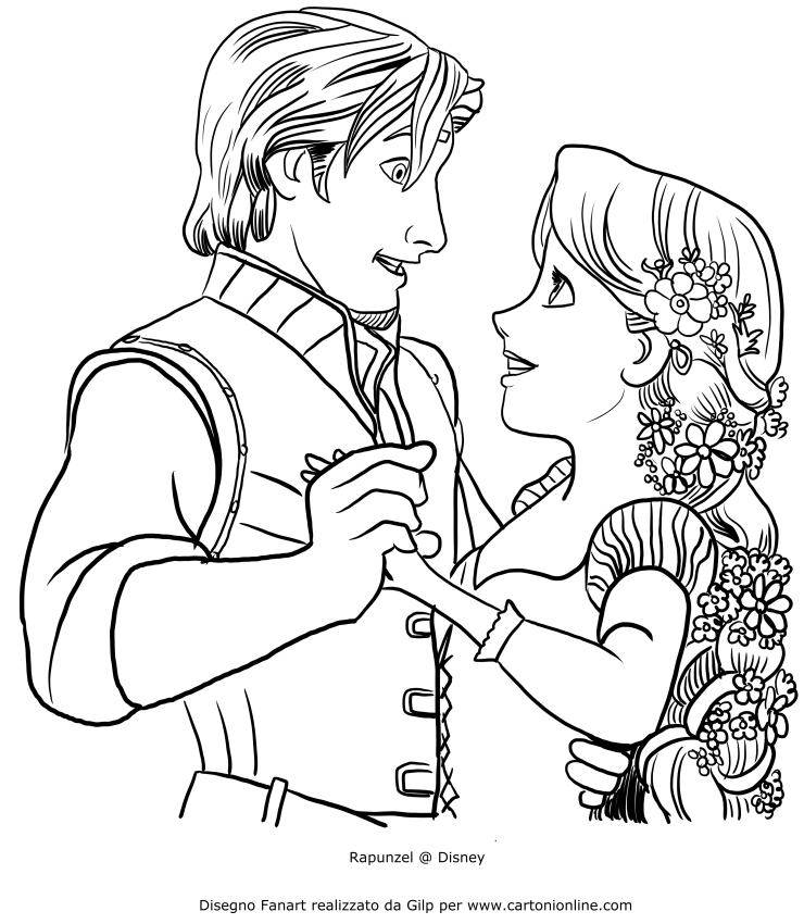 Rapunzel Dancing With Flynn Ryder Coloring Page