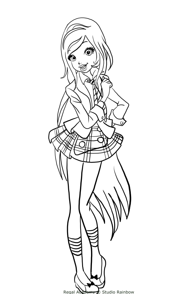Rose cinderella from regal academy coloring pages for Disegni regal academy da colorare