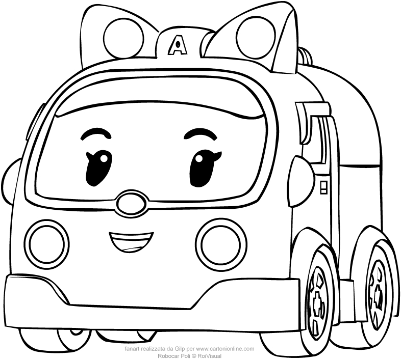 Coloring Pages Robocar Poli : Amber in car version from robocar poli coloring pages